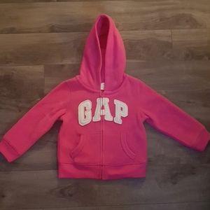 Pink Gap fleece zip up sweater size 2